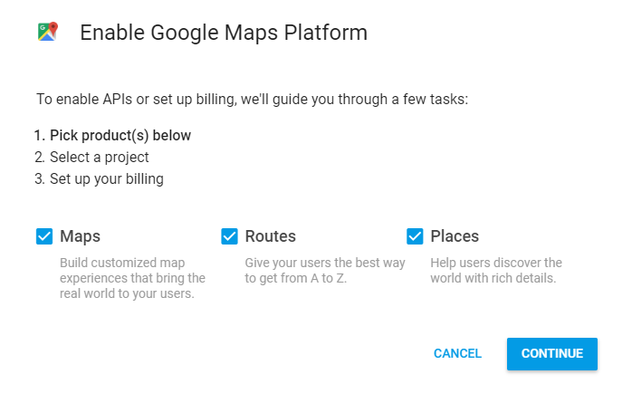 creating a google maps api key